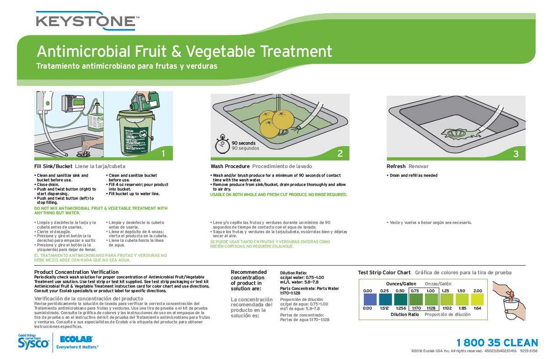 Keystone Antimicrobial Fruit Amp Vegetable Treatment Wall Chart